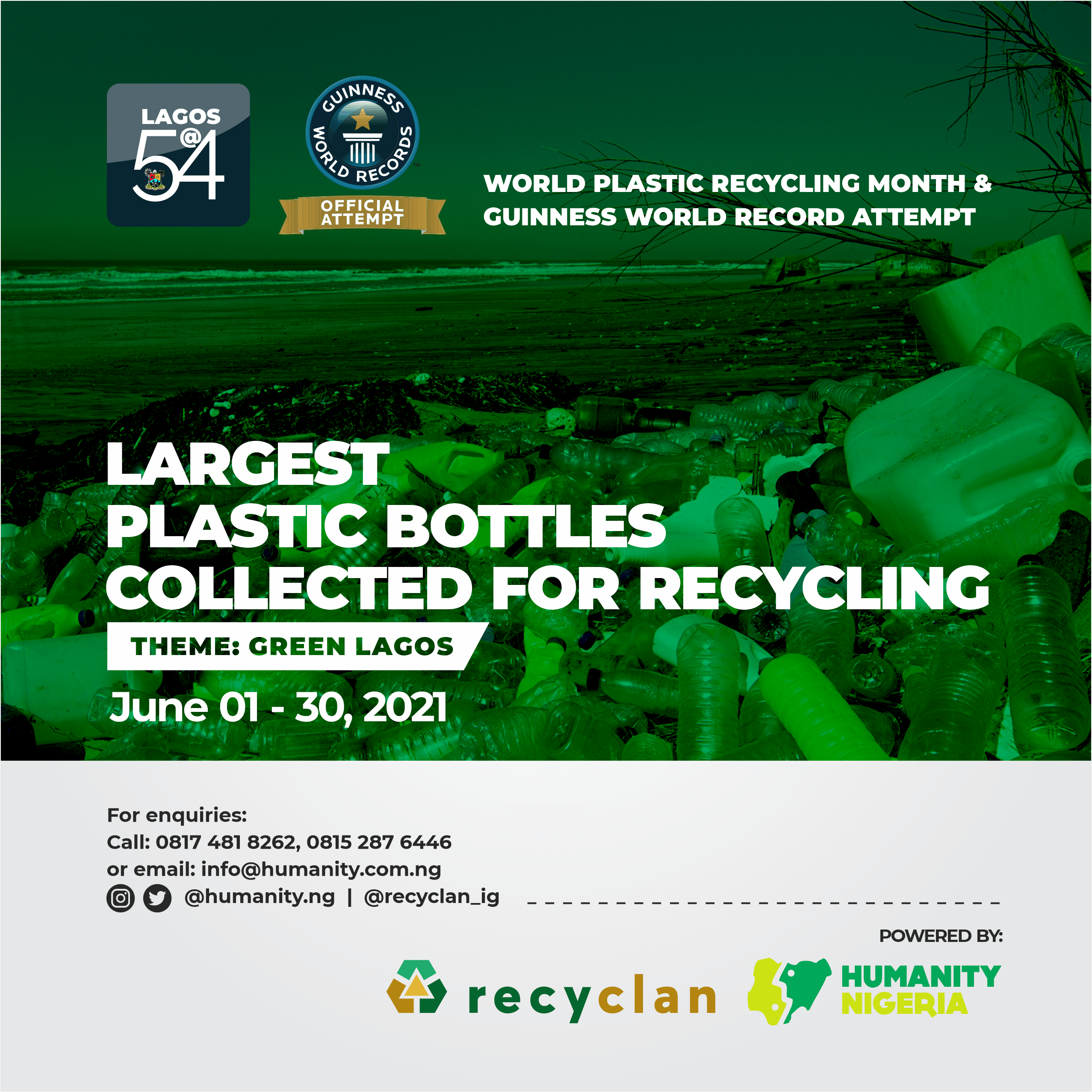 RECYCLAN GLOBAL SERVICES LIMITED AND HUMANITY NIGERIA move to recover 400 tons of Plastic waste from the natural environment